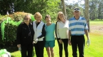 Elizabeth Skarshaug, Chris McEachron Hanson, Pat Templin Price, Judy Morrow Goodenow, and Steve Hanson at Hole #8